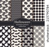 set of halloween backgrounds.... | Shutterstock .eps vector #215790784