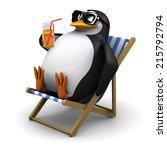 3d Render Of A Penguin Sitting...