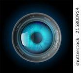 eye inside the camera lens   Shutterstock .eps vector #215800924