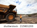 coal trucks and loaders are... | Shutterstock . vector #215801203