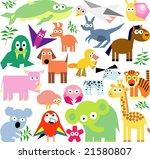 vector set of new geo animals 24 | Shutterstock .eps vector #21580807