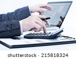 businessman analyzing... | Shutterstock . vector #215818324