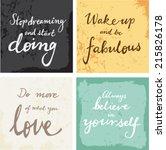 4 hand written inspirational... | Shutterstock .eps vector #215826178