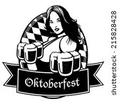 black and white oktoberfest... | Shutterstock .eps vector #215828428