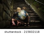 children are holding the planet ... | Shutterstock . vector #215832118