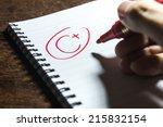handwriting grade c plus on... | Shutterstock . vector #215832154