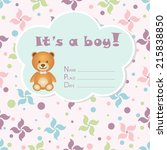 baby boy arrival card. baby... | Shutterstock .eps vector #215838850