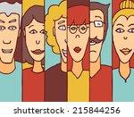 cartoon illustration of diverse ... | Shutterstock .eps vector #215844256