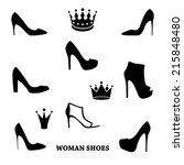 set of woman shoes silhouettes ...