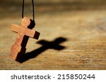 Wooden Cross With Deep Shadow...