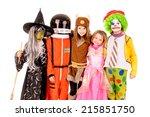 little kids in costume isolated ... | Shutterstock . vector #215851750