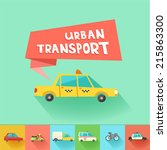 urban transport flat vector... | Shutterstock .eps vector #215863300