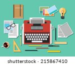 editor workplace. a flat vector ... | Shutterstock .eps vector #215867410