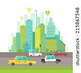 urban landscape in flat design. ... | Shutterstock .eps vector #215867548