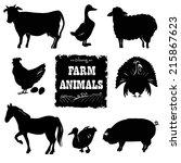 Set Of Farm Animals. Hand Draw...