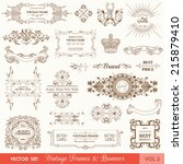 vector set  vintage frames and... | Shutterstock .eps vector #215879410