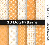 set of dog seamless vector... | Shutterstock .eps vector #215881474