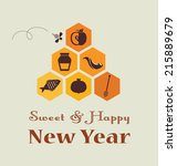 greeting card for jewish new... | Shutterstock .eps vector #215889679