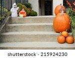 Pumpkins On Front Steps Of Hom...
