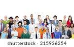 group of diverse multiethnic... | Shutterstock . vector #215936254