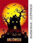 halloween pumpkins and a... | Shutterstock .eps vector #215943610