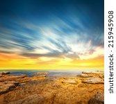 panoramic dramatic sunset sky... | Shutterstock . vector #215945908
