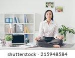 female office worker meditating ... | Shutterstock . vector #215948584