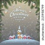 retro christmas background | Shutterstock .eps vector #215958799