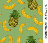 banana and pineapple pattern   Shutterstock .eps vector #215967376