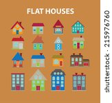 flat houses  buildings icons ... | Shutterstock .eps vector #215976760