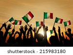 group of people waving italian... | Shutterstock . vector #215983180