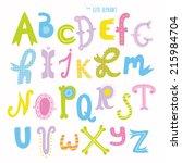 multicolor hand drawn alphabet. ... | Shutterstock .eps vector #215984704