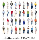group of multiethnic diverse... | Shutterstock . vector #215990188