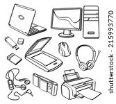 office equipment collection | Shutterstock .eps vector #215993770