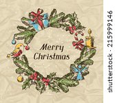 merry christmas hand drawn... | Shutterstock .eps vector #215999146