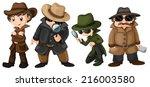 illustration of detectives set | Shutterstock .eps vector #216003580