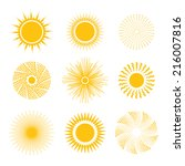 sun icon set   abstract and... | Shutterstock .eps vector #216007816