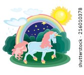 vector picture rainbow and... | Shutterstock .eps vector #216010378