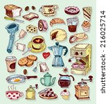 coffee icon set. vector... | Shutterstock .eps vector #216025714