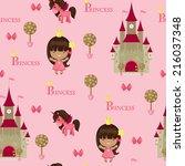 princess seamless pattern.... | Shutterstock . vector #216037348