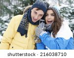 warm greetings from winter... | Shutterstock . vector #216038710