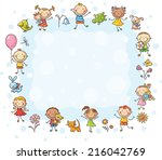 rectangular frame with kids and ... | Shutterstock .eps vector #216042769