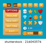 interface buttons set for games ... | Shutterstock .eps vector #216043576