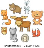 set of cartoon wild forest... | Shutterstock .eps vector #216044428