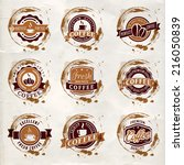 set of vintage vector coffee... | Shutterstock .eps vector #216050839