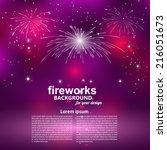 celebratory fireworks on a... | Shutterstock .eps vector #216051673