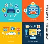 auto mechanic service flat... | Shutterstock .eps vector #216055519