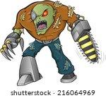 zombie warrior vector... | Shutterstock .eps vector #216064969