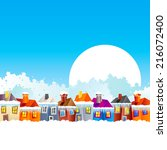 background with cartoon village ... | Shutterstock .eps vector #216072400