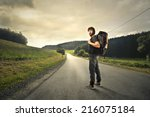 man with a backpack ready to... | Shutterstock . vector #216075184